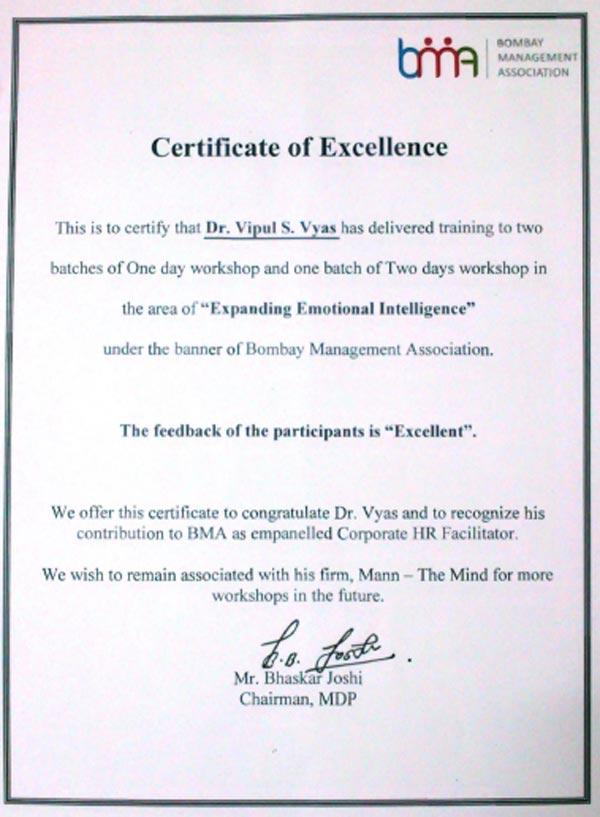 BMA-Certificate