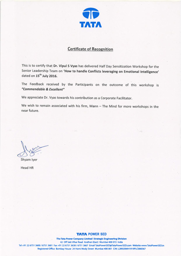 TATA Certificate Of Recognition
